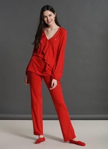 Dagi Fırfırlı V Yaka Uzun Kollu Pijama Takımı Kırmızı